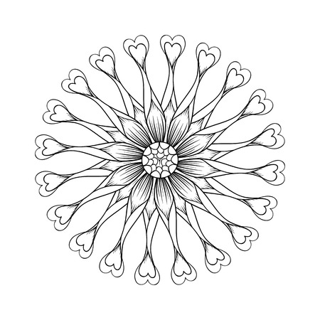 osteospermum: Coloring page with Osteospermum flowers, Flower Power Spider Purple  zentangle illustartion for adult Coloring books or tattoos with high details isolated on white background. Vector monochrome sketch. Illustration