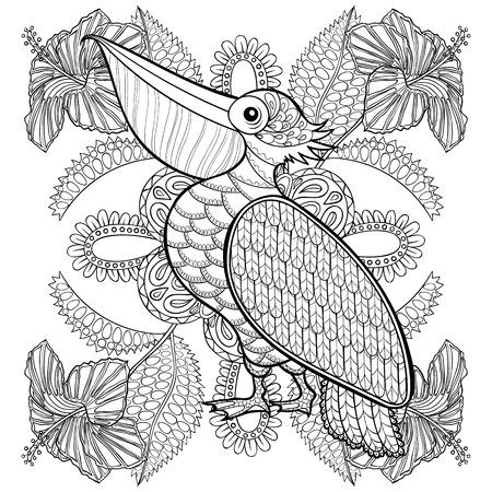 Dibujo para colorear con el pelícano en flores hibiskus, illustartion zentangle para los libros para colorear para adultos o tatuajes con detalles altos aislados sobre fondo blanco. Vector dibujo blanco y negro de aves.