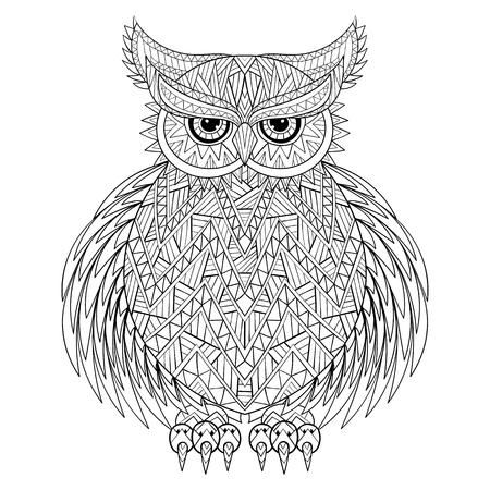 book design: Hand drawn zentangle Owl, bird totem for adult Coloring Page in zentangle style, for tattoo, illustration with high details isolated on white background. Vector monochrome sketch.