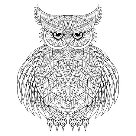 diseño: Zentangle mano dibujada búho, tótem del pájaro para adultos para colorear en el estilo del zentangle, para el tatuaje, la ilustración con detalles altos aislados sobre fondo blanco. Ilustración monocromática del dibujo. Vectores
