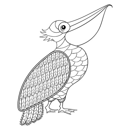 isolated illustartion: Coloring page with Pelican, zentangle illustartion for adult Coloring books or tattoos with high details isolated on white background. Vector monochrome bird sketch.