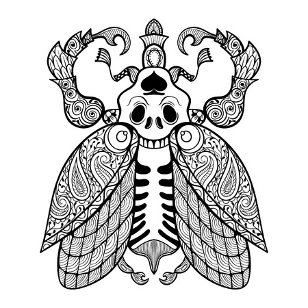 dead insect: Coloring page of Bug with skull, zentangle illustartion tribal totem insect for adult Coloring books or tattoos with high details isolated on background. Vector monochrome sketch. Illustration