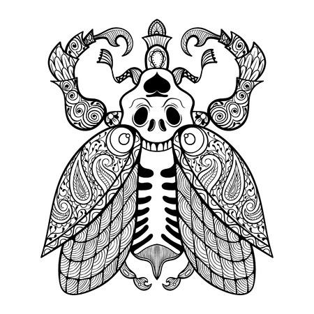 insecto: Dibujo para colorear de Bug con el cráneo, illustartion zentangle tribal de insectos de tótem para los libros para colorear para adultos o tatuajes con altos detalles aislados en el fondo. Ilustración monocromática del dibujo. Vectores