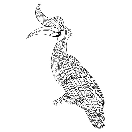 enormous: Coloring page with Bird Rhinoceros, zentangle illustartion Hornbill bird for adult Coloring books or tattoos with high details isolated on white background. Vector monochrome sketch of exotic bird.