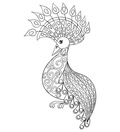 Coloring page with Bird, zentangle illustartion bird  for adult Coloring books or tattoos with high details isolated on white background. Vector monochrome sketch of exotic bird. Illustration