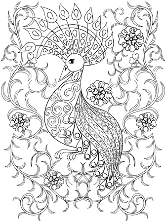 pajaros: Dibujo para colorear con el pájaro en flores, aves illustartion zentangle para los libros para colorear para adultos o tatuajes con detalles altos aislados sobre fondo blanco. Vectorial blanco y negro dibujo de aves exóticas. Vectores