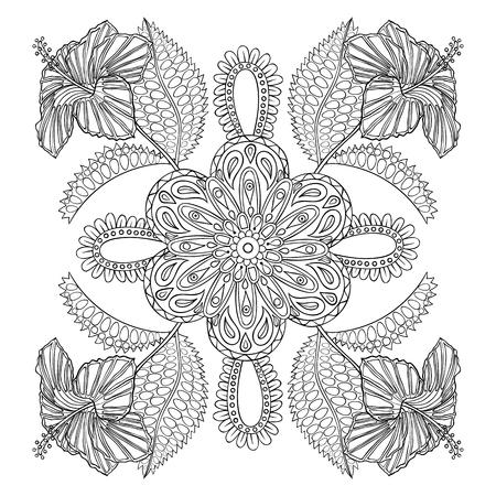 libros: P�gina para colorear con flores ex�ticas almuerzo, illustartion zentangle para los libros para colorear para adultos o tatuajes con detalles altos aislados sobre fondo blanco. Ilustraci�n monocrom�tica del dibujo.