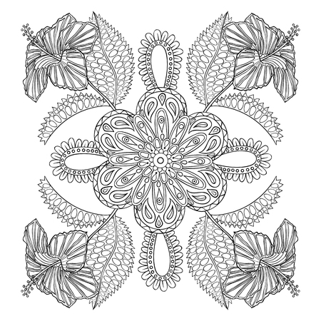 Coloring page with exotic flowers brunch, zentangle illustartion for adult Coloring books or tattoos with high details isolated on white background. Vector monochrome sketch.