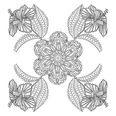 books isolated: Coloring page with exotic flowers, zentangle illustartion for adult Coloring books or tattoos with high details isolated on white background. Vector monochrome sketch.
