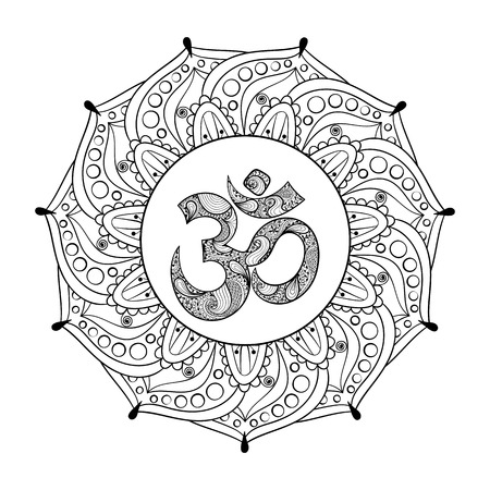 Hand drawn Ohm symbol, indian Diwali spiritual sign Om elegant round Indian Mandala with high details isolated on white background, illustration in zentangle style. Vector monochrome sketch. Illustration