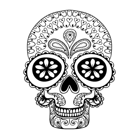 tribales: Dibujado a mano en el estilo del cráneo del zentangle, tótem tribal de tatuaje, adulto colorear Pagewith detalles altos aislados sobre fondo blanco, ilustración vectorial cráneo muerto, dibujo blanco y negro.
