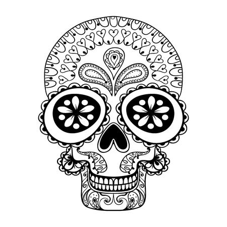 Hand getrokken Schedel in zentanglestijl, tribal totem voor tatoeage, volwassen Coloring Pagewith hoge details op een witte achtergrond, vector Dead Skull illustratie, zwart-wit schets.