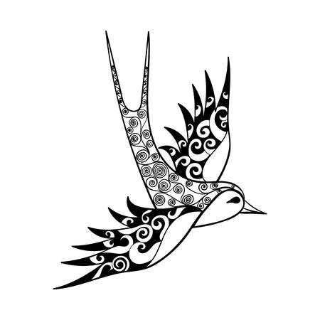 Dibujado a mano Swallow tribal, tótem del pájaro para adultos para colorear o tatuajes con detalles altos aislados sobre fondo blanco, ilustración en estilo del zentangle. Ilustración monocromática del dibujo.