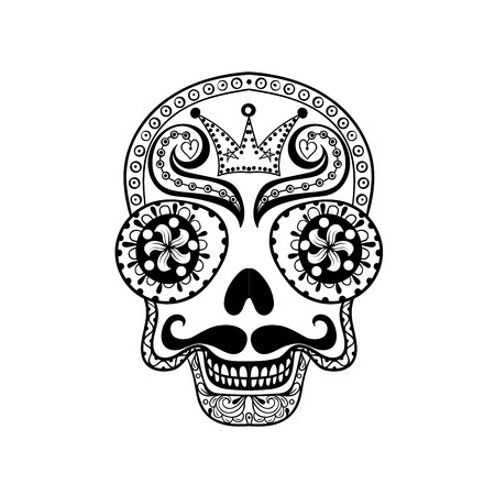Vector  Dead Skull illustration, Hand drawn Skull in zentangle style, tribal totem for tattoo, adult Coloring Pagewith high details isolated on white background.