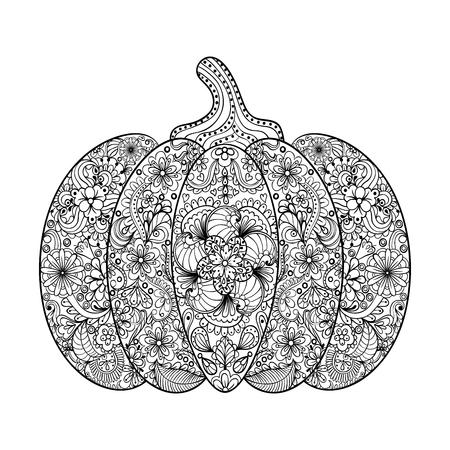 ilustración vectorial de calabaza, dibujado a mano en el estilo de verduras zentangle, tótem tribal de tatuaje, adulto Página para colorear con detalles altos aislados sobre fondo blanco.
