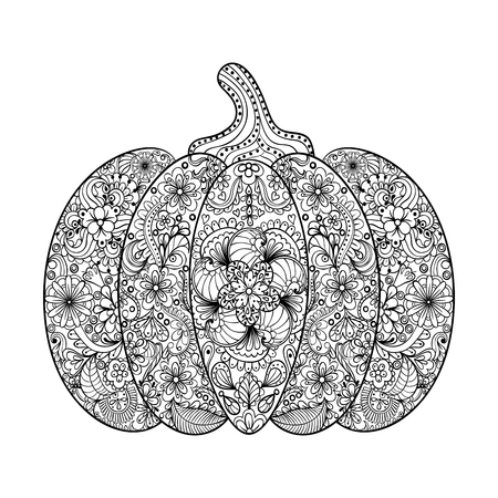page: Vector Pumpkin illustration, Hand drawn vegetable in zentangle style, tribal totem for tattoo, adult Coloring Page with high details isolated on white background.