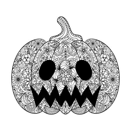 ilustración vectorial de calabaza, dibujado a mano en el estilo de Helloween hortalizas zentangle, tótem tribal de tatuaje, adulto Página para colorear con detalles altos aislados sobre fondo blanco.
