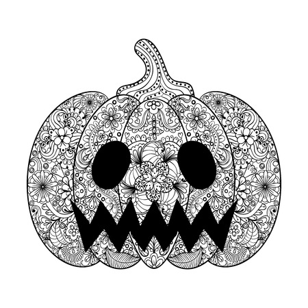 Vector Pumpkin illustration, Hand drawn Helloween vegetable in zentangle style, tribal totem for tattoo, adult Coloring Page with high details isolated on white background. Illustration