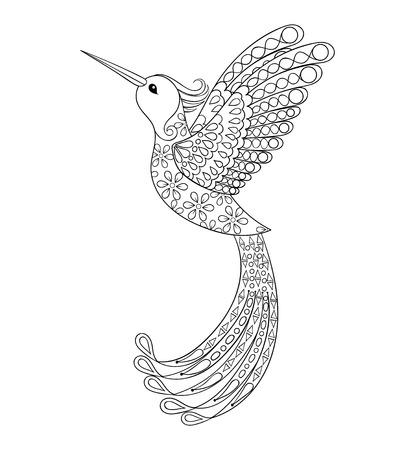 libros volando: Zentangle tribal colibrí, pájaro volar tótem para adultos para colorear o tatuajes con altos detalles aislados en el fondo, ilustración dibujados a mano. Vectorial blanco y negro dibujo de aves exóticas.