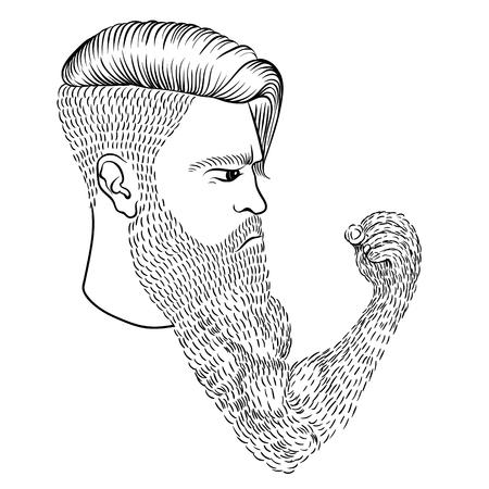 El hombre seus con una larga barba en forma de una mano y un puño Ilustración de vector