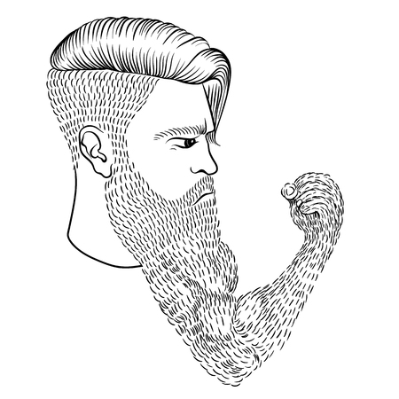 The serious man with a long beard in the form of a hand and a fist