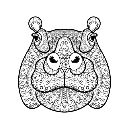 adult: Hand drawn tribal hippopotamus head, animal totem for adult Coloring Page in zentangle style ,  Hippo illustration with high details isolated on white background. Vector monochrome sketch.