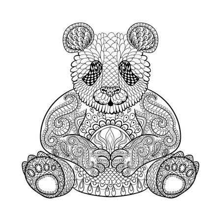 Dibujado a mano Panda tribal, tótem animal adulto para colorear en el estilo del zentangle, ilustración con detalles altos aislados sobre fondo blanco. Ilustración monocromática del dibujo.