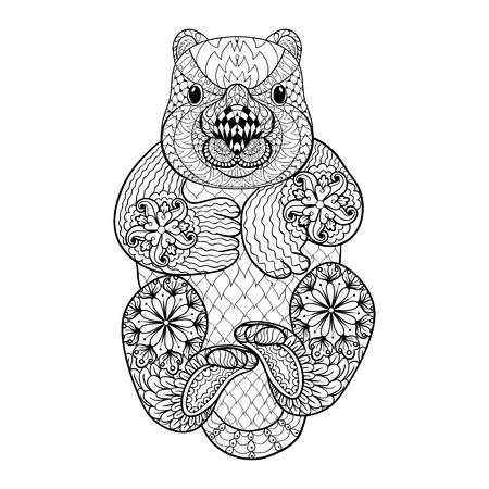wombat: Dibujado a mano Wombat tribal, tótem animal adulto para colorear en el estilo del zentangle, ilustración con detalles altos aislados sobre fondo blanco. Ilustración monocromática del dibujo.