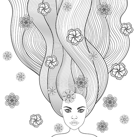 page long: Hand drawn girl like forest fairy with long hair and flowers. Coloring Page with high details isolated on white background, illustration in zentangle style. Vector monochrome sketch. Illustration