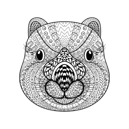 wombat: Mano cara dibujada Wombat tribal, tótem animal adulto para colorear con detalles altos aislados sobre fondo blanco, ilustración en estilo del zentangle. Ilustración monocromática del dibujo. Vectores