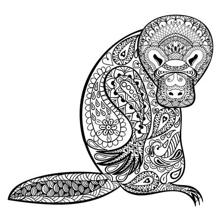 animal fauna: Zentangle Australian platypus totem for adult anti stress Coloring Page for art therapy, tribal illustration in doodle style. Vector monochrome sketch with high details isolated on white background.