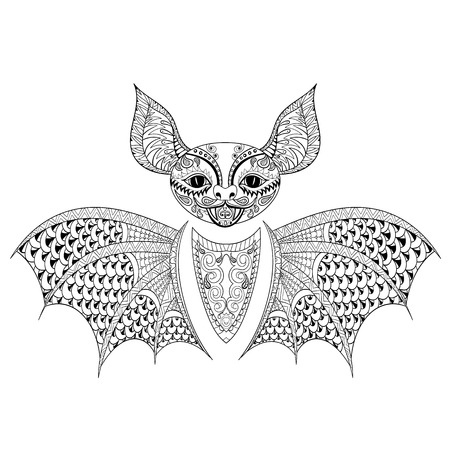 anti stress: Zentangle Bat totem for adult anti stress Coloring Page for art therapy, tribal illustration in doodle style. Vector monochrome sketch with high details isolated on black background.