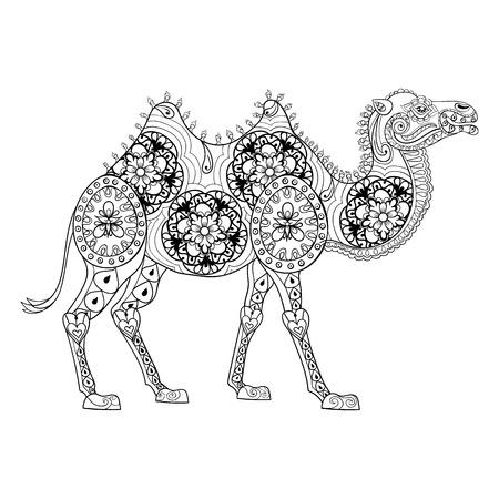 tótem de Zentangle del camello por un adulto contra el estrés página para colorear para la terapia del arte, la ilustración en el estilo de dibujo. Vectorial blanco y negro dibujo con detalles altos aislados sobre fondo negro.