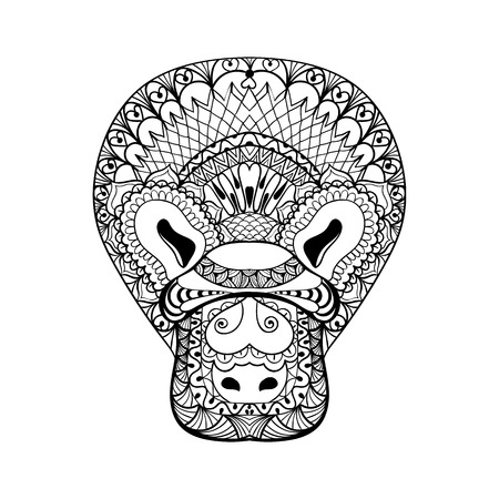 platypus: Zentangle Platypus head totem for adult anti stress Coloring Page for art therapy, tribal illustration in doodle style. Vector monochrome sketch with high details isolated on white background.
