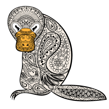 Zentangle Australian platypus totem for adult anti stress Coloring Page for art therapy, tribal illustration in doodle style. Vector color sketch with high details isolated on white background.