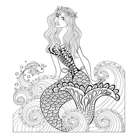 dibujos para colorear: Fantástica sirena en las olas del mar con un pez de colores y la corona sobre la cabeza de adulto contra el estrés para colorear con detalles altos aislados sobre fondo blanco, ilustración en estilo del zentangle. Vectores