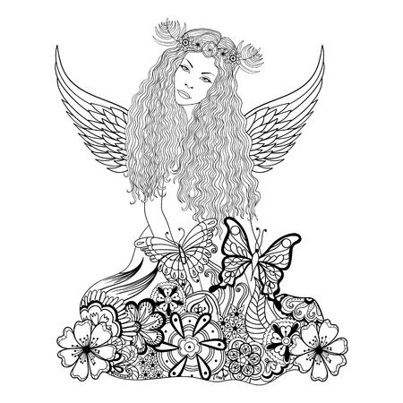 gente adulta: hada del bosque con las alas y la corona sobre la cabeza, la ninfa del bosque joven hermosa en flores para adultos anti-estrés para colorear con detalles altos aislados sobre fondo blanco, ilustración en estilo del zentangle. Ilustración monocromática del dibujo.