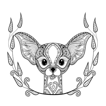 anti stress: Zentangledesert Fox head totem in frame for adult anti stress Coloring Page for art therapy, illustration in doodle style. Vector monochrome sketch with high details isolated on white background. Illustration