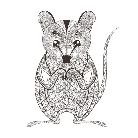 Zentangle brown  Possum totem for adult anti stress Coloring Page for art therapy, illustration in doodle style. Vector monochrome sketch with high details isolated on white background