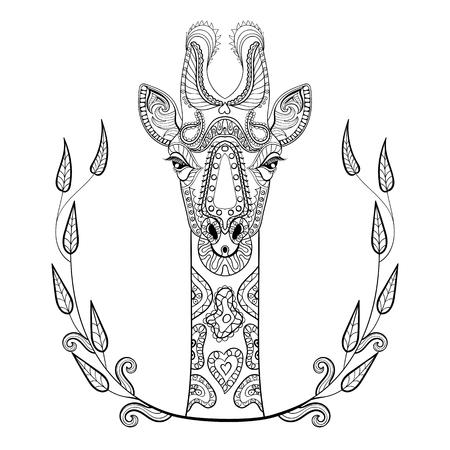 낙서 스타일에서 미술 치료, 그림 성인 안티 스트레스 색칠 페이지 프레임에 Zentangle 기린 머리 토템. 흰색 배경에 고립 된 높은 세부 벡터 흑백 스케치.