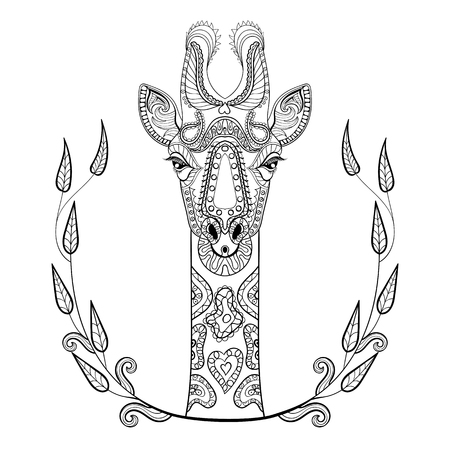 Zentangle Giraffe head totem in frame for adult anti stress Coloring Page for art therapy, illustration in doodle style. Vector monochrome sketch with high details isolated on white background. Vettoriali