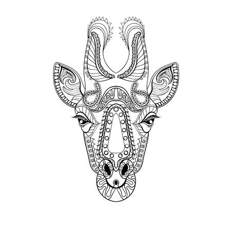 jirafa fondo blanco: tótem de la cabeza de Zentangle de la jirafa por un adulto contra el estrés página para colorear para la terapia del arte, la ilustración en el estilo de dibujo. Vectorial blanco y negro dibujo con detalles altos aislados sobre fondo blanco.