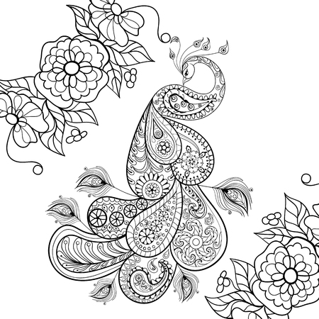 Zentangle Peacock totem in flowersfor adult anti stress Coloring Page for art therapy, illustration in doodle style. Vector monochrome sketch with high details isolated on white background.