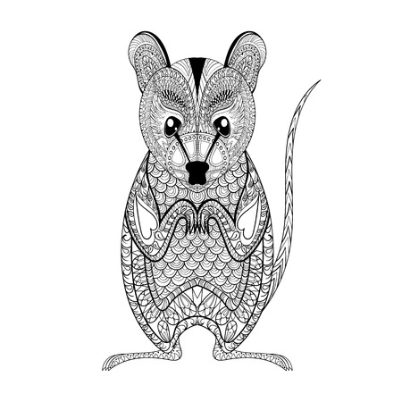 Zentangle Possum totem for adult anti stress Coloring Page for art therapy, illustration in doodle style. Vector monochrome sketch with high details isolated on white background