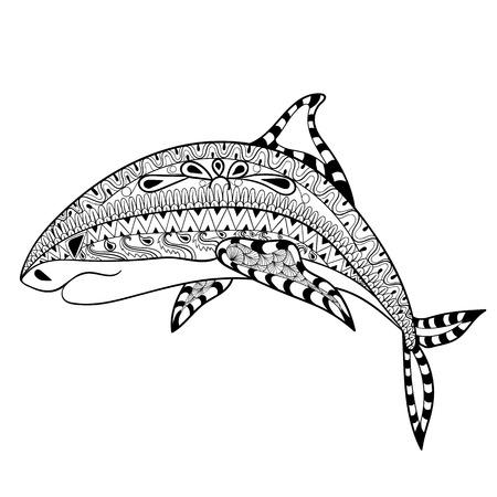 shark cartoon: tótem zentangle tiburón por un adulto contra el estrés página para colorear para la terapia del arte, la ilustración en el estilo de dibujo. Vectorial blanco y negro dibujo con detalles altos aislados sobre fondo blanco. Vectores