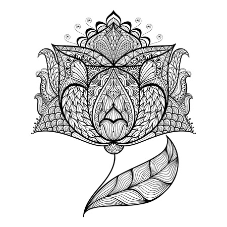 Hand drawn magic flower for antistress Coloring Page with high details isolated on white background, illustration in zentangle style. Vector monochrome sketch. Nature collection.