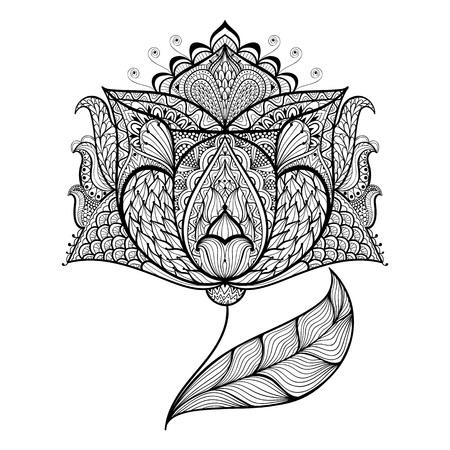 flores moradas: Dibujado a mano de la flor mágica para colorear antiestrés con detalles altos aislados sobre fondo blanco, ilustración en estilo del zentangle. Ilustración monocromática del dibujo. Colección de la naturaleza. Vectores