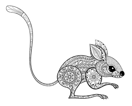 macro flower: Hand drawn zentangled mouse totem for antistress Coloring Page with high details isolated on white background, illustration in doodle style. Vector monochrome sketch. Animal collection.