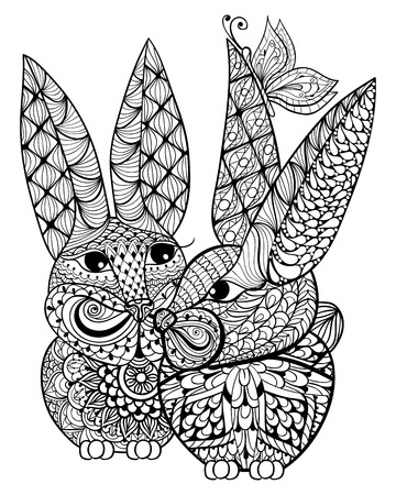 blue romance: Hand drawn couple rabbits lovers  illustration for antistress Coloring Page with high details isolated on white background, in zentangle style. Vector monochrome sketch. Animal collection. Illustration