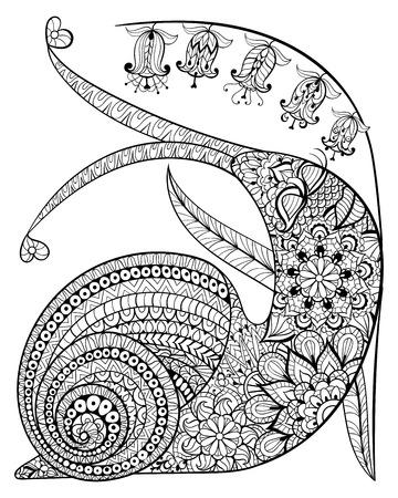 dieren: Hand getrokken tevreden Slak en bloemen voor volwassen anti-stress kleurplaat met hoge details op een witte achtergrond, illustratie in zentanglestijl. Vector zwart-wit schets. Animal collectie.